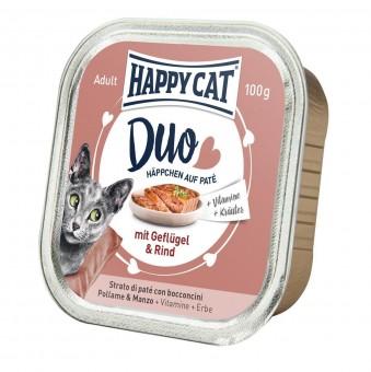 Happy Cat Duo Paté Häppchen Geflügel & Rind 24x 100g