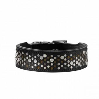 Hunter Halsband Basic Rivellino | Kunstleder | schwarz 60 - 47-54 cm - 39 mm