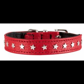 Hunter Halsband Capri Mini Stars | Leder | rot-schwarz 37 - 30-34,5 cm - 26 mm