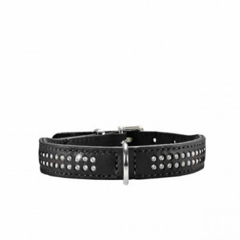 Hunter Halsband Diamond Elk-Leder Petit, Gr 27 | 20-24 cm | 16 mm schwarz