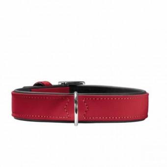 Hunter Halsband Softie | Kunstleder | rot-schwarz 50 - 36-44 cm - 28 mm