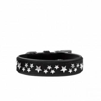 Hunter Halsband Softie Stars | Kunstleder | schwarz 55 - 42-50 cm - 35 mm