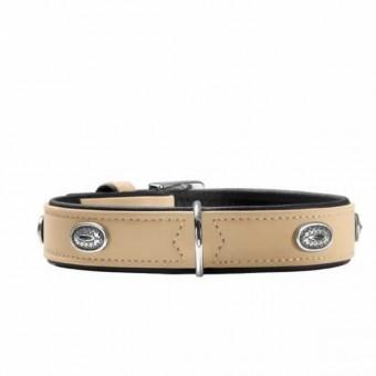Hunter Halsband Softie Stone   Kunstleder   beige-schwarz 50 - 36-44 cm - 28 mm