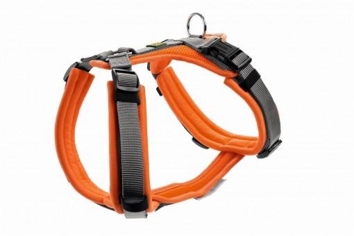 Hunter Hunde-Geschirr Maldon orange-grau | L