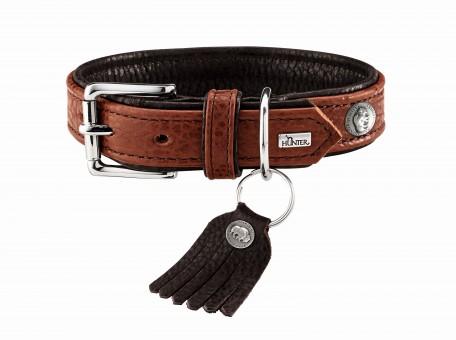 Hunter Hunde-Halsband Cody   Bisonleder cognac-dunkelbraun   S 1