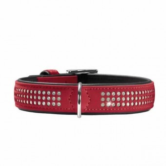 Hunter Hunde-Halsband Softie Triluxe rot-schwarz | S-M