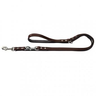 Hunter Hunde-Leine verstellbar Basic braun-schwarz | 13-200