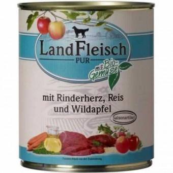 LandFleisch Dog Pur Rinderherz, Reis & Wildapfel 12 x 800g