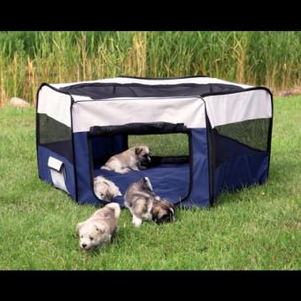 Trixie Freilauf für Kaninchen und Welpen ø 130 × 55 cm, blau-grau