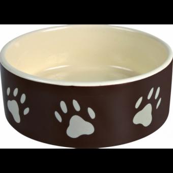 Trixie Keramiknapf mit Pfoten | braun-creme 0,3 l/ø 12 cm