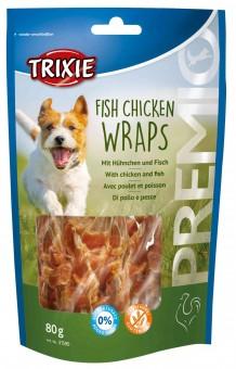 Trixie PREMIO Fish Chicken Wraps | 66% Fleisch & 29% Fisch 10x 80 g | Vorteilspack
