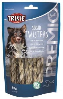 Trixie PREMIO Sushi Twisters | Hundesnack mit 100% Fisch 16x 60 g | Vorteilspack