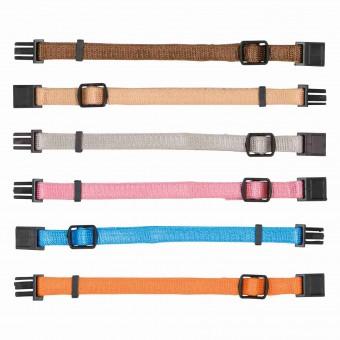 Trixie Welpenhalsbänder | 6 Stück braun, beige, grau, organge, rosa & hellblau | M-L (22-35 cm)