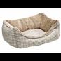 Hunter Hundesofa Astana | Karo mit Plüsch | braun, Größe: M - 80 x 60 cm