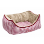 Hunter Hundesofa Astana | Karo mit Plüsch | rot, Größe: S - 60 x 45 cm