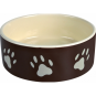 Trixie Keramiknapf mit Pfoten | braun-creme, Größe: 1,4 l/ø 20 cm