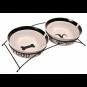 Trixie Napf-Set Eat on Feet | weiß-schwarz, Größe: 2 × 2,6 l/ø 25 cm
